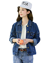 Women's Solid Blue  Loose Casual Vintage Denim Jackets,Street chic Shirt Collar Long Sleeve