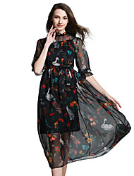 Women's/Cocktail Sexy A Line / Chiffon Dress, ½ Length Sleeve Black Silk / Polyester All Seasons