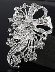 De alta qualidade moda requintada flor de prata broche de strass