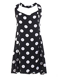 Women's Polka Dot Black Jumpsuits , Holiday / Beach Strap Sleeveless