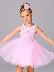 A-line Knee-length Flower Girl Dress - Satin Tulle Jewel with