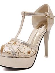 sapatos femininos tule saltos de verão / sandálias de dedo aberto stiletto ocasional calcanhar paetês prata / ouro