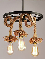 Rural Hemp Rope Chandelier Lamps And Lanterns Industry Restaurant Wheels
