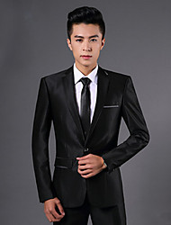 Suits Slim Fit Notch Single Breasted One-button Polyester Solid 2 Pieces  Straight Flapped Double Black Double  Pockets
