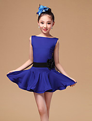 Latin Dance Dresses Children's Performance Tulle / Milk Fiber Sash/Ribbon 3 Pieces Black / Fuchsia / Blue  Sleeveless