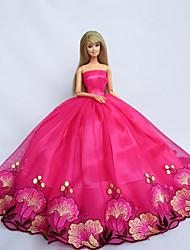 Muñeca Barbie-Rojo-Corte Princesa-Satén / Encaje-Vestidos-Vestidos