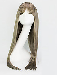 Europe And The United States The New Fashion Wig Female Long Straight Hair Air Bang Light Brown Sets