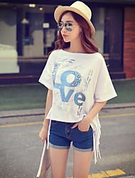 Rosa Doll® Damen Rundhalsausschnitt Kurze Ärmel T-Shirt Weiß-X15BTS124