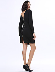 Women's Sexy / Simple Solid Bodycon Dress , Crew Neck Knee-length Spandex