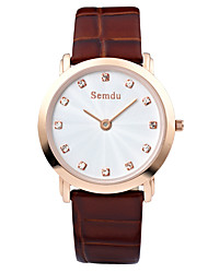 Semdu® Fashion Vintage Leather Belt Simple Rhinestone Design Men Waterproof Wristwatch Business Watch