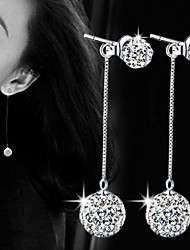Women Ball Crystal Tassel Drop Earrings for Wedding Party