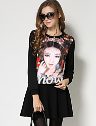 Women's Casual/Daily Simple Fall / Winter Blouse,Print Round Neck Long Sleeve Black Cotton / Nylon Medium