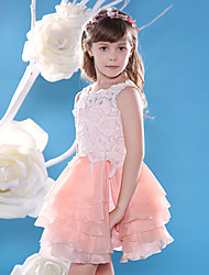Ball Gown Knee-length Flower Girl Dress - Lace / Organza Sleeveless Jewel with Buttons / Lace