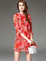 Ewheat® Mujer Escote Chino Manga 3/4 Sobre la Rodilla Vestidos-H2279