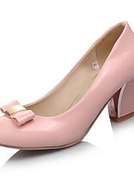 Damen-High Heels-Büro / Kleid / Lässig-Lackleder-Blockabsatz-Absätze / Pumps / Rundeschuh-Schwarz / Rosa / Mandelfarben