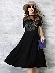 Women's Going out Cute / Sophisticated A Line / Lace Dress,Solid / Patchwork Stand Knee-length Short Sleeve Black Cotton / Polyester
