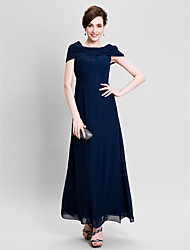 Lanting Bride® Sheath / Column Mother of the Bride Dress Ankle-length Short Sleeve Chiffon with Beading