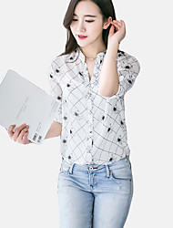 De las mujeres Simple / Chic de Calle Trabajo Verano Camisa,Escote Chino Estampado Manga Larga Poliéster Rojo / Blanco / Beige / Amarillo