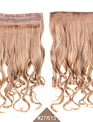 "Blonde 24""(60cm) 120g #27/613 Long Wavy Curly SyntheticHair Weaves Clip in Hair Extension 5Clips Heat Resistent Cheapest"