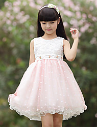 A-line Short/Mini Flower Girl Dress - Cotton / Satin / Tulle Sleeveless Jewel with Bow(s) / Embroidery