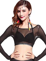 Dança do Ventre Blusas Mulheres Treino Tule Pano 1 Peça Manga Comprida Natural Top 34cm