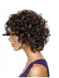 Afro Hair Short Kinky Curly Wig African American Wigs Fiber Dark Brown Color