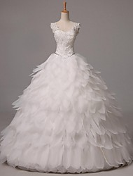 Ball Gown Wedding Dress Vintage Inspired Floor-length Straps Organza with Beading