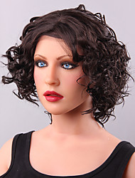 2016 New Elegant Short Curly Human Hair Front Lace Wig