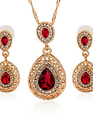 Golden Plated Drop Shape Gem Pendant Necklace & Earrings Jewelry Set