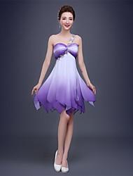 A-line одно плечо длиной до колен шифоновое платье выпускного вечера коктеила с кристаллической детализацией