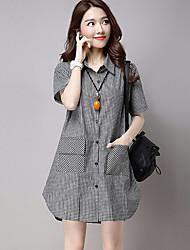 Women's Casual/Daily Street chic Loose Fashion Summer Shirt,Plaid Shirt Collar Short Sleeve