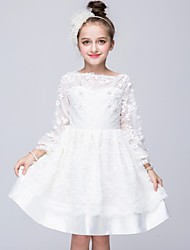 A-line Knee-length Flower Girl Dress - Cotton / Satin / Tulle 3/4 Length Sleeve Bateau with Embroidery