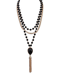 Elegant Pearl Tassels Long Section Of Multilayer Diamond Necklace Long Sweater Chain Necklace