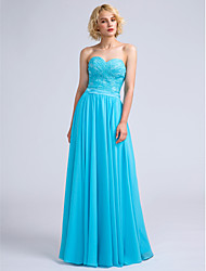 Lanting Bride® Floor-length Chiffon / Lace Bridesmaid Dress - A-line Sweetheart with Lace / Criss Cross
