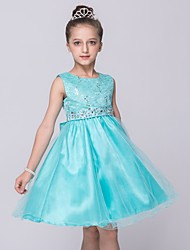 A-line Knee-length Flower Girl Dress-Satin / Tulle Sleeveless