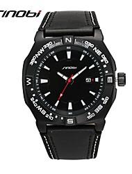 SINOBI Masculino Relógio Esportivo Relógio Militar Quartzo Impermeável Resistente ao Choque Couro Banda Borboleta PretaPreto/Vermelho