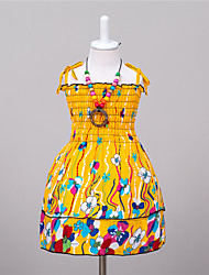 Girl's Casual/Daily Print Dress,Polyester Summer Yellow