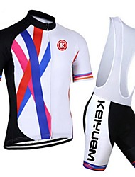 KEIYUEM® Cycling Jersey with Bib Shorts Unisex Short Sleeve BikeBreathable / Quick Dry / Dust Proof / Wearable / Back Pocket / Stretch /