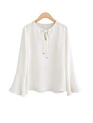 Damen Solide Einfach Lässig/Alltäglich T-shirt,Rundhalsausschnitt Sommer Langarm Weiß / Schwarz Polyester Undurchsichtig