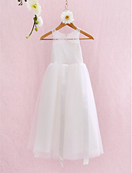 A-line Ankle-length Flower Girl Dress - Lace Jewel with Lace Bandage