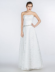 A-line Wedding Dress Floor-length Strapless Lace / Satin / Tulle with Beading / Crystal / Lace