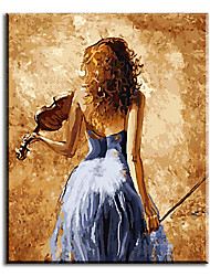 Art Wall Hand Painted Oil Painting Picture-piano Girl Home Decor with Stretched Frame Ready to Hang