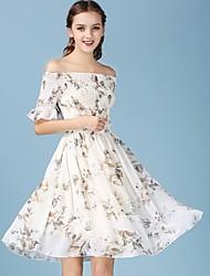 Women's Vintage Print Sheath Dress,Boat Neck Knee-length Polyester