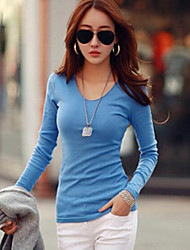 Damen Solide Einfach / Street Schick Lässig/Alltäglich T-shirt,V-Ausschnitt Langarm Blau / Weiß / Schwarz Baumwolle Mittel