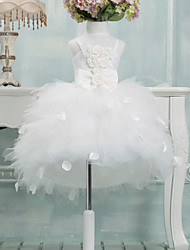 Ball Gown Asymmetrical Flower Girl Dress - Tulle Sleeveless Spaghetti Straps with Bow(s)