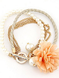 Fabric Flower Shape with Pearl Multilayer Bracelet