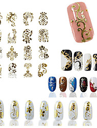 24PCS Mix Gold Sticker Nail Art Nail Decorations