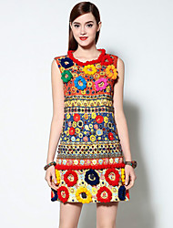 Boutique S Women's Formal Vintage A Line Dress,Print Round Neck Above Knee Sleeveless Red Polyester Spring / Summer