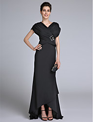 Lanting Bride® Sheath / Column Mother of the Bride Dress Sweep / Brush Train Short Sleeve with Beading / Criss Cross