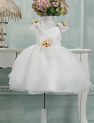 Ball Gown Knee-length Flower Girl Dress - Tulle Short Sleeve V-neck with Flower(s)
